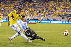 September 11, 2018 - East Rutherford, NJ, U.S. - EAST RUTHERFORD, NJ - SEPTEMBER 11: Colombia midfielder Sebastian Villa (24) shoots the ball during the Colombia midfielder Sebastian Villa (24) half of the International Friendly Soccer match between Argentina and Colombia on September 11, 2018 at MetLife Stadium in East Rutherford, NJ. (Photo by John Jones/Icon Sportswire) (Credit Image: © John Jones/Icon SMI via ZUMA Press)