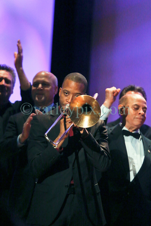 20 November 2015. Orpheum Theater, New Orleans, Louisiana. <br /> Memorial service for musician Allen Toussaint. <br /> Troy 'Trombone' Shorty.<br /> Photo; Charlie Varley/varleypix.com
