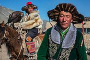 Portrait of Kazakh eagle hunters, Altai Mountains, Bayan Ulgii, Mongolia