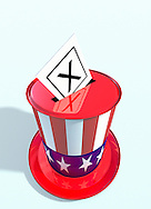 Uncle Sam's stovepipe hat as ballot box