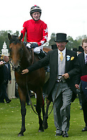 SIR ALEX FERGUSON, LEADS IN ROCK OF GIBRALTER, AFTER WINNING THE ST JAMES PALACE STAKES