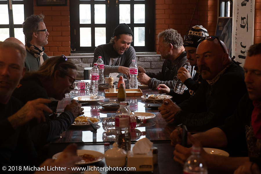 Lunch stop back in Kalopanio on day-6 of our Himalayan Heroes adventure riding from Muktinath to Tatopani, Nepal. Sunday, November 11, 2018. Photography ©2018 Michael Lichter.