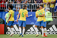 Roberto Firmino of Brazil celebrates after his goal with Neymar during the 2018 FIFA World Cup Russia, round of 16 football match between Brazil and Mexico on July 2, 2018 at Samara Arena in Samara, Russia - Photo Thiago Bernardes / FramePhoto / ProSportsImages / DPPI