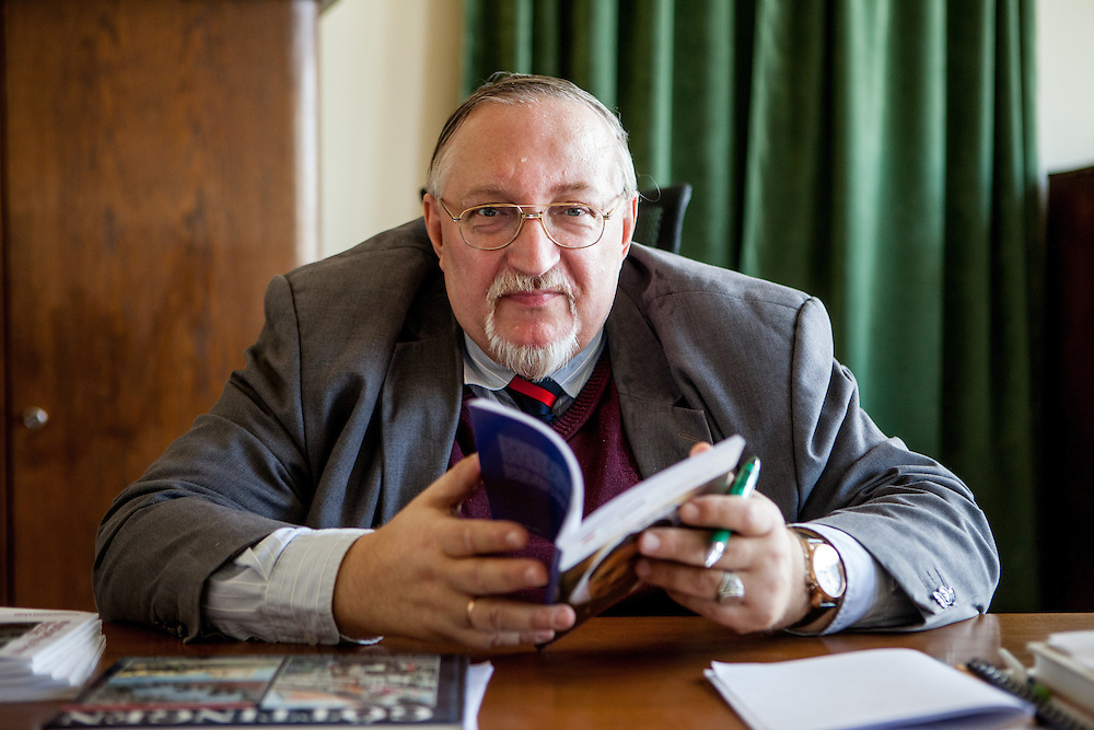 """""""Most of Huss's life is connected with the university, from his arrival to study there to his departure from Prague in 1412, when the Papal interdict was imposed on him,"""" Jan Lasek, dean of the Hussite Theological Faculty in his office at the University in Prague."""