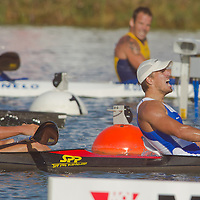 Peter Gelle (R) and Erik Vlcek (L) celebrate their victory in the K2 Men Kayak 1000m Final of the 2011 ICF World Canoe Sprint Championships held in Szeged, Hungary on August 19, 2011. ATTILA VOLGYI