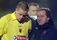 Picture: Henry Browne.Digitalsport<br /> Date: 30/11/2004.<br /> Watford v Portsmouth Carling Cup Quarter Final.<br /> Ray Lewington sheds a tear as striker Heidar Helguson gets subbed off.