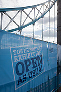 Open As Usual: The start of repairs to Londons Tower Bridge, on 10th October 2016, in London, England. Closed for repairs to traffic and disrupting this major Thames crossing and surrounding roads for the next three months.