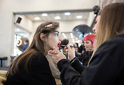 Models on the backstage during the Preen Autumn/Winter 2017 London Fashion Week show at QEII Centre, London. PRESS ASSOCIATION. Picture date: Sunday February 19, 2017. Photo credit should read: Isabel Infantes/PA Wire