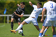 Hamilton Wanderers Xavier Pratt steals the ball from Hawkes Bay United's Sam Pickering in the Handa Premiership football match, Hawke's Bay United v Hamilton Wanderers, Bluewater Stadium, Napier, Sunday, November 15, 2020. Copyright photo: Kerry Marshall / www.photosport.nz