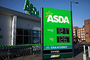 Asda supermarket chain on Old Kent Road displaying fuel prices on 9th January 2020 in London, England, United Kingdom. Asda Stores Ltd. is a British supermarket retailer, headquartered in West Yorkshire. The company was founded in 1949 and was listed on the London Stock Exchange until 1999 when it was acquired by the American retail giant Walmart for £6.7 billion. Asda was the second-largest supermarket chain in Britain between 2003 and 2014 by market share, at which point it fell into third place. Since April 2019, it has regained its second-place position.