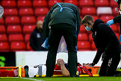 Luke Thomas of Barnsley recieves treatment for an injury - Mandatory by-line: Robbie Stephenson/JMP - 17/10/2020 - FOOTBALL - Oakwell Stadium - Barnsley, England - Barnsley v Bristol City - Sky Bet Championship