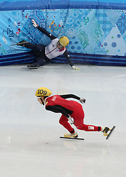 File photo dated 21-02-2014 of Great Britain's Elise Christie crashes in her1000m Short Track Semi Final at the Iceberg Skating Palace during the 2014 Sochi Olympic Games