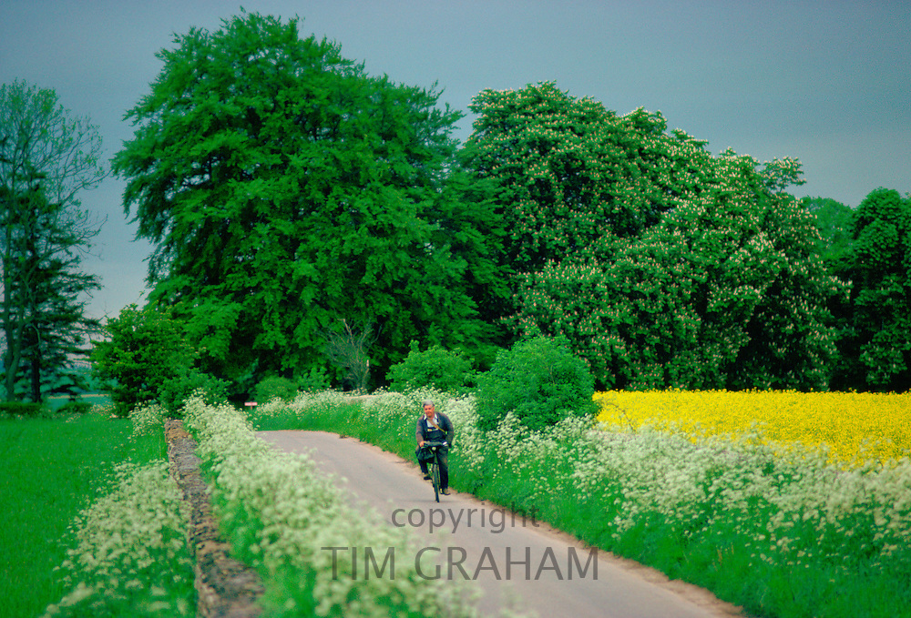 Man cycling along country lane near Coates in Gloucestershire, England