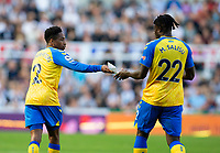 Football - 2021 / 2022 Premier League - Newcastle United vs Southampton - St Jame's Park - Saturday 28th August 2021<br /> <br /> Kyle Walker-Peters of Southampton passes a note to Mohammed Salisu of Southampton given to him by Southampton manager Ralph Hasenhuttl<br /> <br /> Credit: COLORSPORT/Bruce White