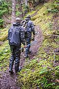 Hiking the river trail. Dean River, BC