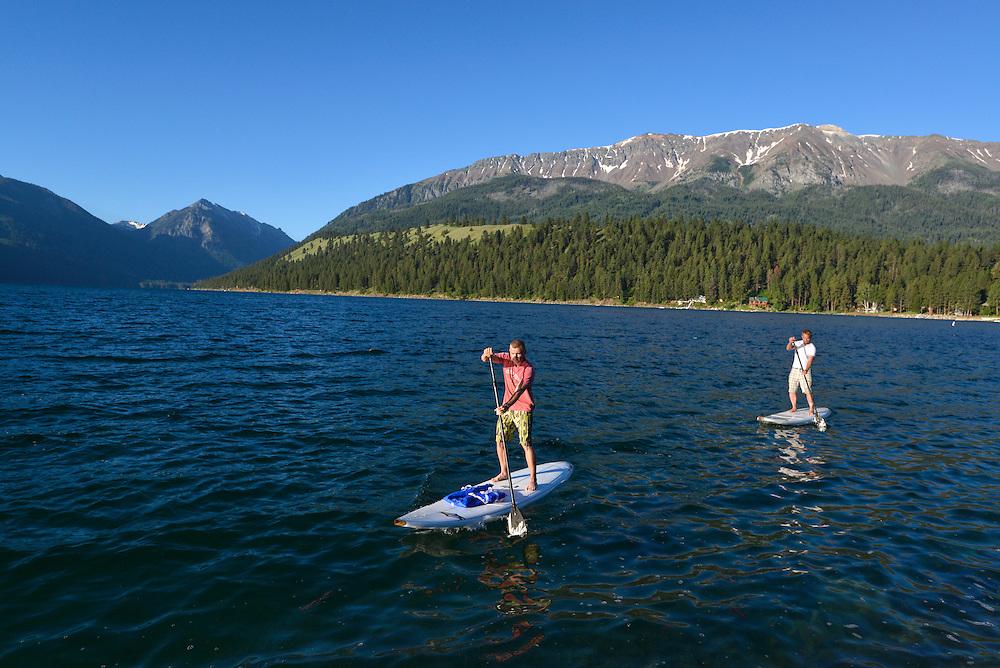Stand up padlling on Wallowa Lake, Oregon.