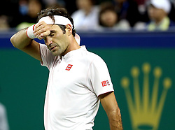 SHANGHAI, Oct. 10, 2018  Switzerland's Roger Federer reacts during the men's singles second round match against Russia's Daniil Medvedev at the Shanghai Masters tennis tournament on Oct. 10, 2018. (Credit Image: © Fan Jun/Xinhua via ZUMA Wire)