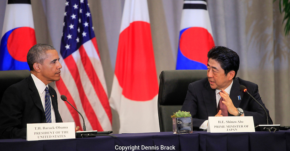 President Barack Obama and Vice President Joseph Biden attend a  trilateral meeting with President Park Geun-Hye of the Republic of Korea and Prime Minister Shinzo Abe of Japan at the Nuclear Security Summit in Washington, DC on March 31,2016 Photo by Dennis Brack