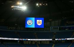 Bristol City and Manchester City crest on screen  - Mandatory by-line: Matt McNulty/JMP - 09/01/2018 - FOOTBALL - Etihad Stadium - Manchester, England - Manchester City v Bristol City - Carabao Cup Semi-Final First Leg