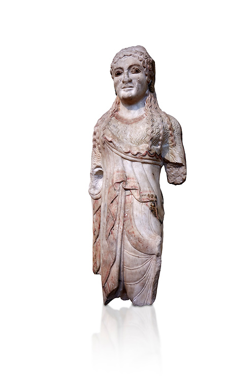 Ancient Greek Archaic statuette of a  kore, found in the Acropolis Athens, 500-490 BC, Athens National Archaeological Museum. Cat no BE 15/2009. Against white.<br /> <br /> The kore statues hair is adorned with a wreath and her ears by round disk earings. Traces of paint can be found on her garments and jewellery. Red paint was found on her hair and eyes. Acropolis Museum Cat no 676, 257 .<br /> <br /> If you prefer to buy from our ALAMY STOCK LIBRARY page at https://www.alamy.com/portfolio/paul-williams-funkystock/greco-roman-sculptures.html . Type -    Athens    - into LOWER SEARCH WITHIN GALLERY box - Refine search by adding a subject, place, background colour, etc.<br /> <br /> Visit our ROMAN WORLD PHOTO COLLECTIONS for more photos to download or buy as wall art prints https://funkystock.photoshelter.com/gallery-collection/The-Romans-Art-Artefacts-Antiquities-Historic-Sites-Pictures-Images/C0000r2uLJJo9_s0