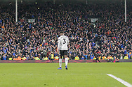 GOAL 1-2 Oldham Athletic forward Callum Lang (19) scores Oldham's winner as Fulham midfielder Ryan Sessegnon (3) walks back towards the celebrating Oldham fans during The FA Cup 3rd round match between Fulham and Oldham Athletic at Craven Cottage, London, England on 6 January 2019.