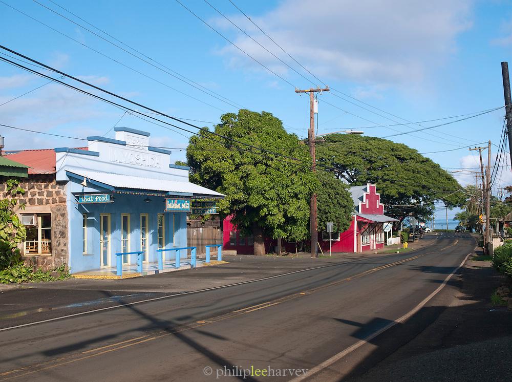 Quiet suburban street in the small town of Haleiwa, O'Ahu, Hawai'i