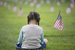 May 28, 2017 - Westwood, CALIFORNIA, USA - Olivia Larkin takes a moment in front of the flags to honor veterans on Memorial Day at the Los Angeles National Cemetery in Westwood, California  on Monday, May 29, 2017, .NORMA ISIORDIA. (Credit Image: © Norma Isiordia/Prensa Internacional via ZUMA Wire)