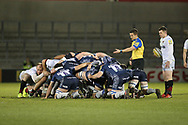 Saracens scrum during the Aviva Premiership match between Sale Sharks and Saracens at the AJ Bell Stadium, Eccles, United Kingdom on 16 February 2018. Picture by George Franks.