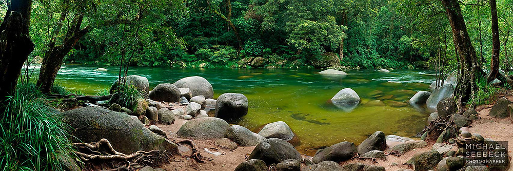 A panoramic photograph of Mossman Gorge in flood, during the wet season.<br /> <br /> Limited Edition of 225