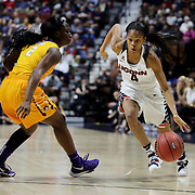 Moriah Jefferson, (right), UConn, drives past Khadidja Toure, East Carolina, during the UConn Huskies Vs East Carolina Pirates Quarter Final match at the  2016 American Athletic Conference Championships. Mohegan Sun Arena, Uncasville, Connecticut, USA. 5th March 2016. Photo Tim Clayton