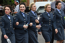 Five members of the D-Day Darlings outside the Hammersmith Apollo, London, ahead of the final of Britain's Got Talent.