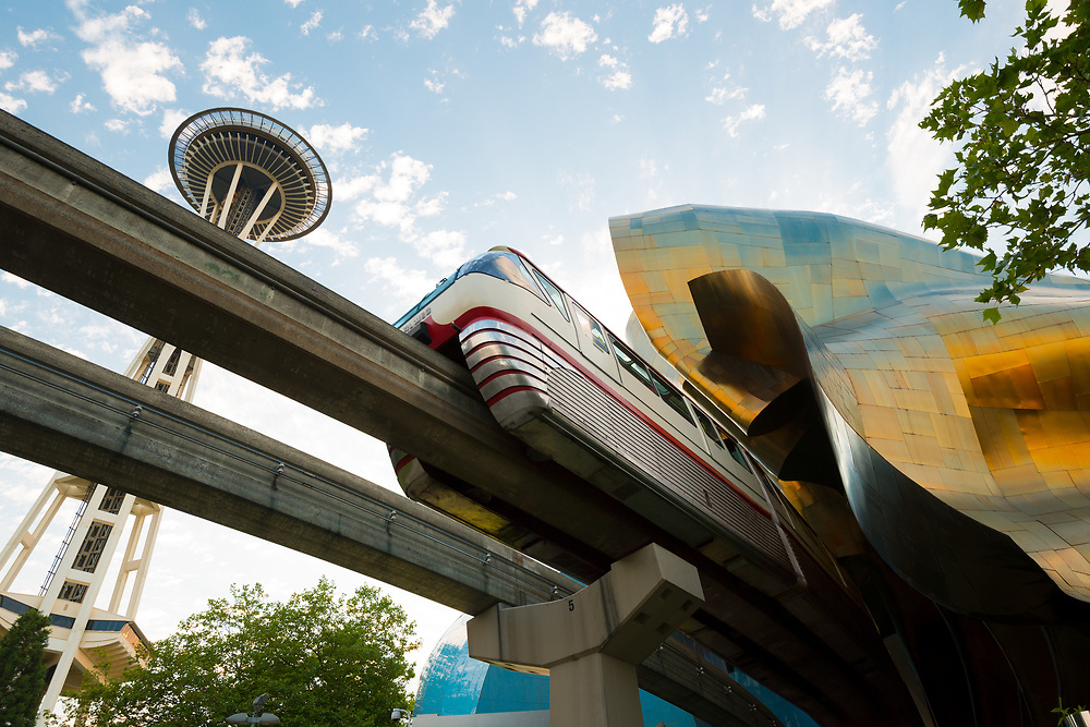 Seattle, Washington State, United States - Monorail and EMP Museum designed by Frank Gehry at Seattle Center.