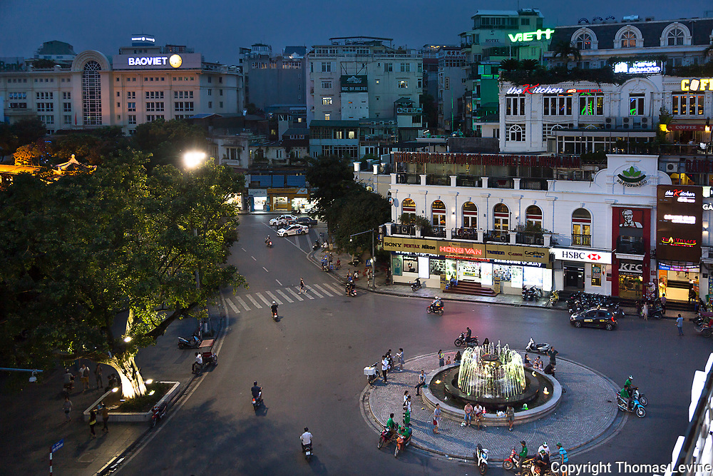 A high view of the fountain and area around the fountian in the Old Quarter of Hanoi, Vietnam.