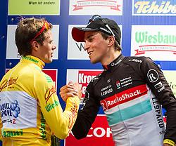 02.07.2012, Kitzbueheler Horn, AUT, 64. Oesterreich Rundfahrt, 2. Etappe, Innsbruck - Kitzbueheler Horn, im Bild Danilo Di Luca (ITA, ASA ACQUA & SAPONE Team) im gelben Trikot und homas Rohregger (AUT, RNT RADIOSHACK-NISSAN Team) bester Oesterreicher // during the 64rd Tour of Austria, Stage 2, from Innsbruck to the Kitzbuehler Horn, Kitzbuehel, Austria on 2012/07/02. EXPA Pictures © 2012, PhotoCredit: EXPA/ Juergen Feichter