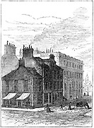 Birthplace of James Watt shortly before it was demolished in 1887.  Watt (1736-1819), Scottish engineer and inventor, was born at Greenock on the Clyde, Scotland. Watt made great improvements to the steam engine, one of the most significant being the separate condenser.  In 1774 he went into partnership with Matthew Boulton (1728-1809) the Birmingham manufacturer and entrepreneur. Engraving.