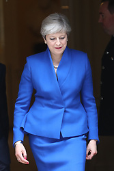 June 9, 2017 - London, England, United Kingdom - Prime Minister THERESA MAY  leaves No 10 Downing Street, to see The Queen after the General Election. (Credit Image: © Stephen Lock/i-Images via ZUMA Press)