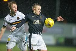 Dumbarton's Jamie Lindsay and Falkirk's John Baird. <br /> Falkirk 1 v 0 Dumbarton, Scottish Championship game played 26/12/2015 at The Falkirk Stadium.