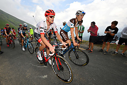 July 25, 2018 - Saint-Lary-Soulan, FRANCE - Belgian Jasper Stuyven of Trek-Segafredo and Belgian Oliver Naesen of AG2R La Mondiale pictured in action during the 17th stage of the 105th edition of the Tour de France cycling race, from Bagneres-de-Luchon to Saint-Lary-Soulan (65 km), France, Wednesday 25 July 2018. This year's Tour de France takes place from July 7th to July 29th. BELGA PHOTO DAVID STOCKMAN (Credit Image: © David Stockman/Belga via ZUMA Press)