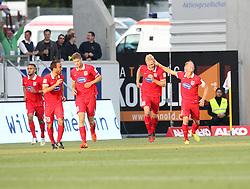 22.08.2014, Voith Arena, Heidenheim, GER, 2. FBL, 1.FC Heidenheim vs TSV 1860 Muenchen, 3. Runde, im Bild jubel nach dem 2:1 von Sebastian Griesbeck (1.FC Heidenheim) // during German 2nd Bundesliga 3rd Round match between 1.FC Heidenheim and TSV 1860 Muenchen at the Voith Arena in Heidenheim, Germany on 2014/08/22. EXPA Pictures © 2014, PhotoCredit: EXPA/ Eibner-Pressefoto/ Langer<br /> <br /> *****ATTENTION - OUT of GER*****