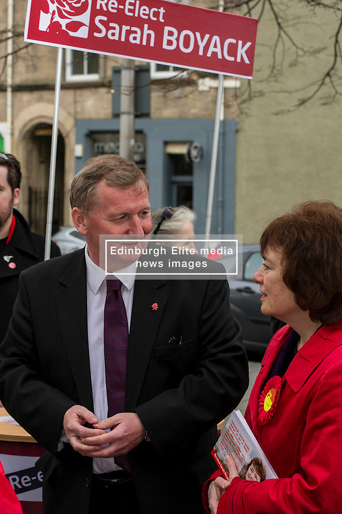 Pictured: Sarah Boyack and Alex Rowley<br /> <br /> Scottish Labour deputy leader Alex Rowley was joined by the party's environment spokeswoman Sarah Boyack and party activists at a farmers' market in the Grassmarket, Edinburgh today. <br /> <br /> Ger Harley   EEm 1 April 2016