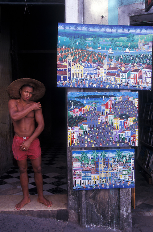 Artist selling works from his home in the Pelourinho, Portuguese Colonial area, Salvador da Bahia, Brazil