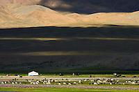 Mongolie, province de Bayan-Ulgii, les montagnes colorées du massif de l'Altai, campement nomade des Kazakh dans l'Altai mongol // Mongolia, Bayan-Ulgii province, western Mongolia, the colored mountains of the Altay, nomad camp of the Kazakh people