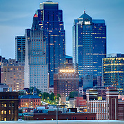 Close up view of Kansas City skyline at dusk from Penn Valley Park.