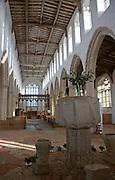 View down the nave inside Holy Trinity church,  Blythburgh, Suffolk, England