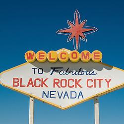 Aug. 28 2008 - Black Rock City, Nevada, USA - An art installation parodying the famous Las Vegas city sign during the Burning Man arts and culture festival Thursday, Aug. 28, 2008, in Black Rock City in the Black Rock Desert near Gerlach, Nev. (Credit Image: © David Calvert/ZUMA Press)