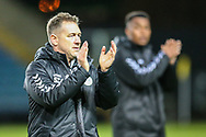 Forest Green Rovers assistant manager, Scott Lindsey applauds the fans at the end of the match during the The FA Cup 1st round match between Oxford United and Forest Green Rovers at the Kassam Stadium, Oxford, England on 10 November 2018.