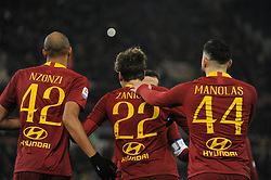 December 26, 2018 - Rome, Italy - Nicolo' Zaniolo with Kostas Manolas and Nzonzi of AS Roma celebrates after scoring the team's third goal during the Serie A match between AS Roma and US Sassuolo at Stadio Olimpico on December 26, 2018 in Rome, Italy. (Credit Image: © Federica Roselli/NurPhoto via ZUMA Press)