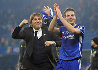 Football - 2016 / 2017 Premier League - Chelsea vs. Watford<br /> <br /> A jubilant Chelsea Manager Antonio Conte after the match with Cesar Azpilicueta at Stamford Bridge.<br /> <br /> COLORSPORT/ANDREW COWIE
