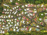 Aerial view of a neighborhood of Papeete on Tahiti island, French Polynesia.