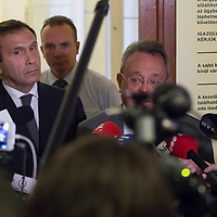 Tamas Gyarfas vice-president of FINA swimming association talks to the media after a court ruling connected to his arrest in a murder case in Budapest, Hungary on April 20, 2018. ATTILA VOLGYI